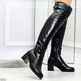 Молодежные повседневные черные замшевые сапоги ботфорты на удобном каблуке, фото 4