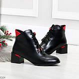 Практичные черные женские ботинки ботильоны с красным декором 36-23,5 см, фото 6