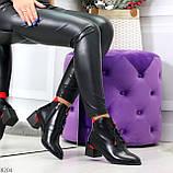 Практичные черные женские ботинки ботильоны с красным декором 36-23,5 см, фото 8