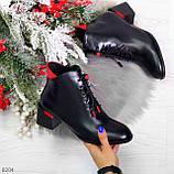 Практичные черные женские ботинки ботильоны с красным декором 36-23,5 см, фото 10