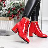 Яркие красные глянцевые женские замшевые ботинки ботильоны на шнуровке, фото 5