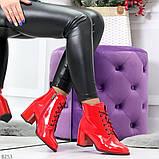 Яркие красные глянцевые женские замшевые ботинки ботильоны на шнуровке, фото 6