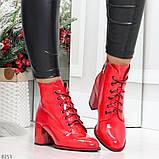 Яркие красные глянцевые женские замшевые ботинки ботильоны на шнуровке, фото 8