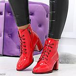 Яркие красные глянцевые женские замшевые ботинки ботильоны на шнуровке, фото 9