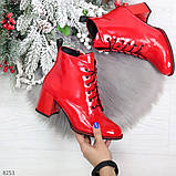 Яркие красные глянцевые женские замшевые ботинки ботильоны на шнуровке, фото 10