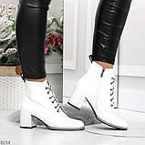 Белые глянцевые женские замшевые ботинки ботильоны на шнуровке, фото 5