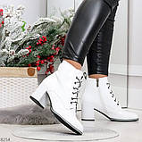 Белые глянцевые женские замшевые ботинки ботильоны на шнуровке, фото 7