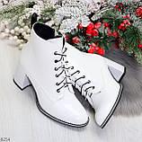 Белые глянцевые женские замшевые ботинки ботильоны на шнуровке, фото 10