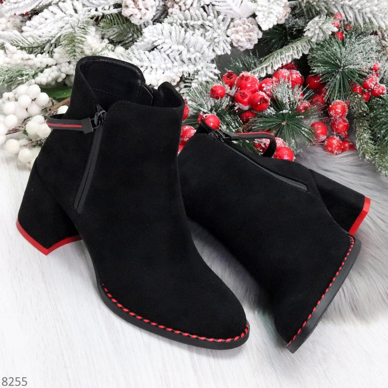 Актуальные замшевые черные женские ботинки ботильоны на удобном каблуке