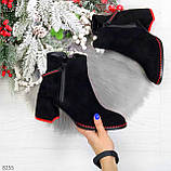 Актуальные замшевые черные женские ботинки ботильоны на удобном каблуке, фото 10