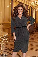 Блестящее женское платье с имитацией запаха с 50 по 58 размер, фото 1