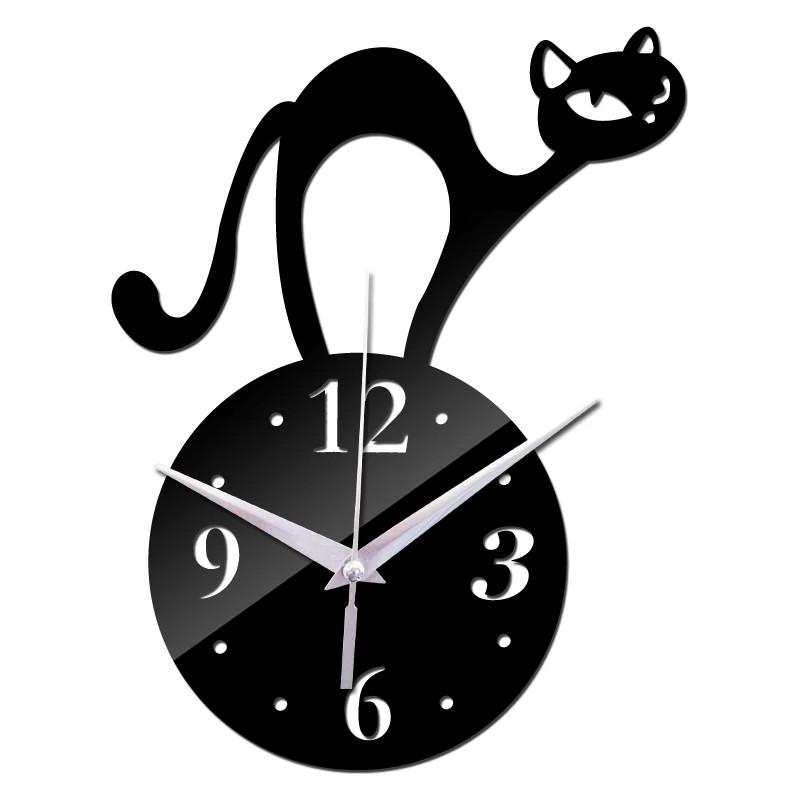 """Часы зеркальные черные пластиковые """"Черный кот"""""""
