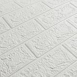 Декоративная 3D панель стеновая самоклеющаяся под кирпич БЕЛЫЙ 700х770х4мм, фото 2