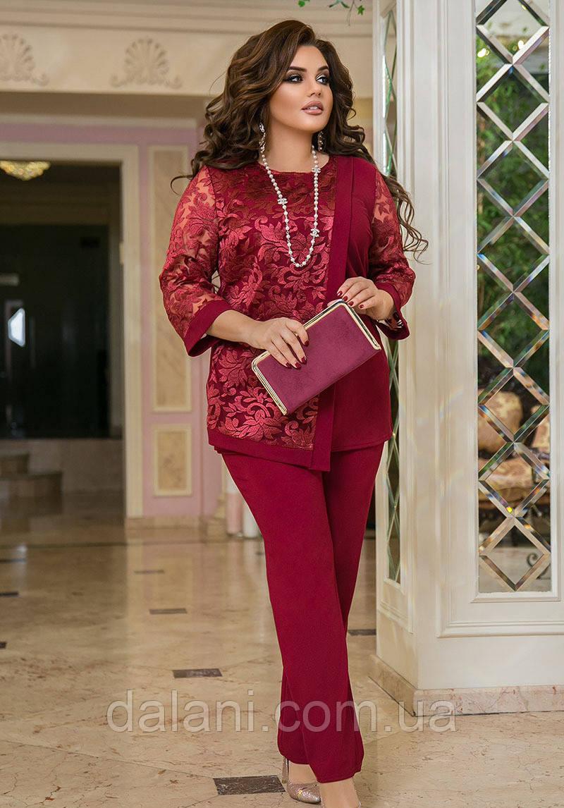 Женский брючный бордовый костюм с сеткой батал