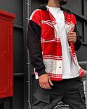 😜Рубашка - мужская теплая рубашка красная с черными рукавами, фото 5
