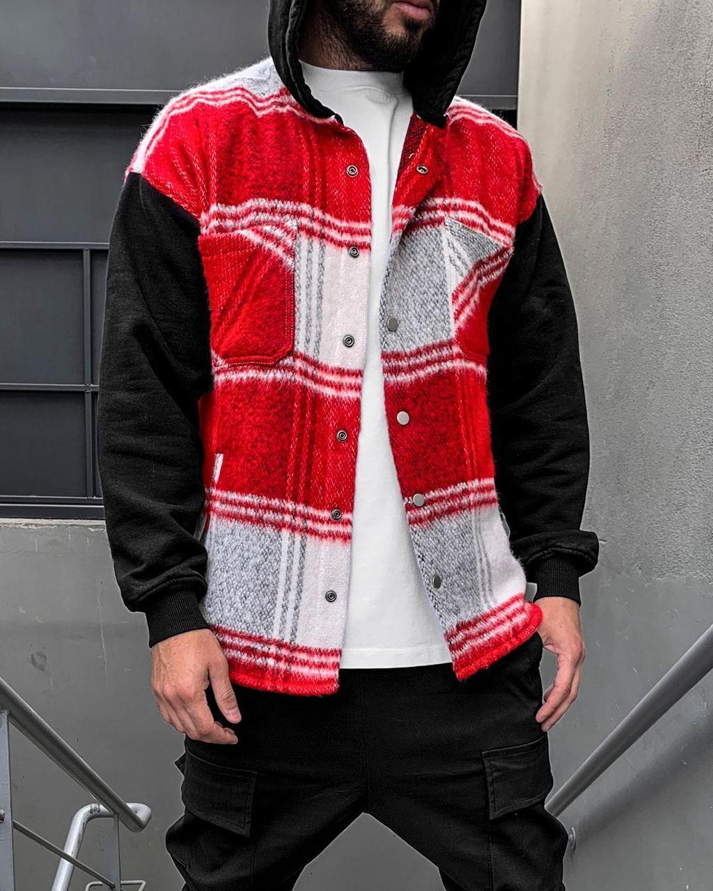 😜Рубашка - мужская теплая рубашка красная с черными рукавами