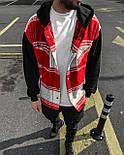 😜Рубашка - мужская теплая рубашка красная с черными рукавами, фото 4