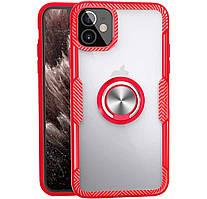 Чехол-накладка TPU+PC Deen Crystal Ring под магнитный держатель для IPhone 12 mini Red