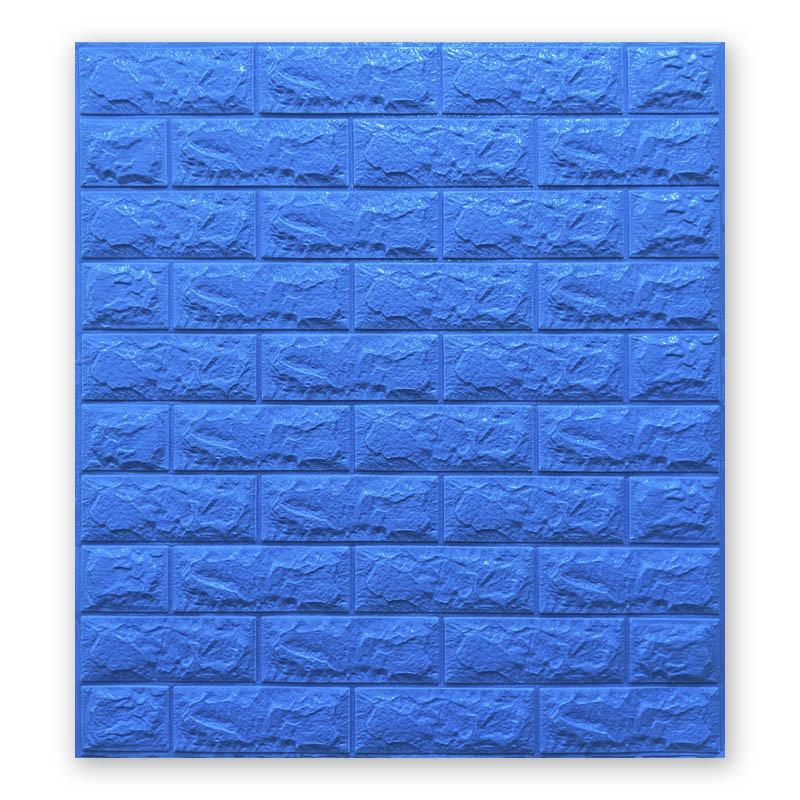 Декоративная 3D панель самоклейка под кирпич Синий 700x770x7мм Os-BG03