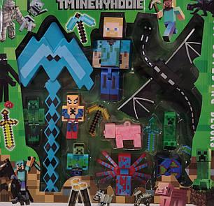 Майнкрафт Minecraft набор фигурки синяя кирка и дракон, фото 2