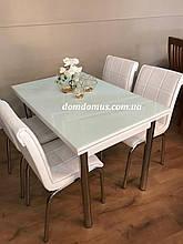 """Стол стеклянный раскладной  мебели """"Beyaz"""" (стол ДСП, каленное стекло) Mobilgen, Турция"""