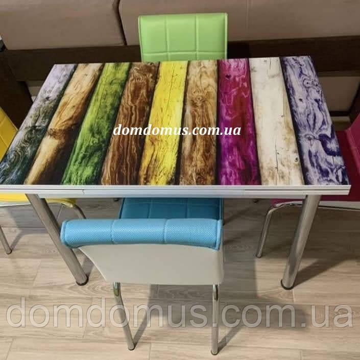 """Комплект обідній меблів """"Mavi Cicer"""" (стіл ДСП, гартоване скло + 4 стільця) Mobilgen, Туреччина"""