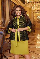 Комплект женский платье-футляр без рукавов и болеро с рукавами летучая мышь на пуговицах с 50 по 56 размер, фото 1