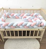 Бортик косичка 360 см, защитные бортики в детскую кроватку