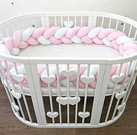 Бортик косичка в овальную кроватку, защитные бортики в детскую кроватку
