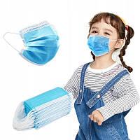 Маска медицинская детская одноразовая защитная для лица с мягкой резинкой 15*9 см