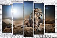 """Модульная картина на холсте из 5 частей """"Стильный Лев"""" ( 85х130 см )"""
