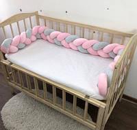 Бортик косичка 240 см, защитные бортики в детскую кроватку