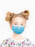 Маски медицинские детские одноразовые защитные на лицо с мягкой резинкой 15*9 см