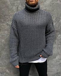 😜 Свитер - Мужской свитер гольф темно-серый оверсайз
