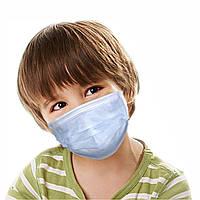 Маска медицинская детская защитная одноразовая для ребёнка с мягкой резинкой 15*9 см