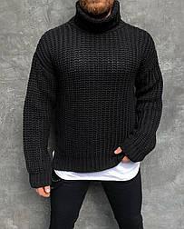 😜 Свитер - Мужской свитер гольф черный оверсайз