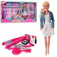 Кукла DEFA с нарядами набор одежды и аксессуары 29 см платья обувь сумочка расческа плойка