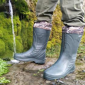 Зимові гумові чоботи для риболовлі - з утеплювачем. Зимние резиновые сапоги Krok с утеплителем