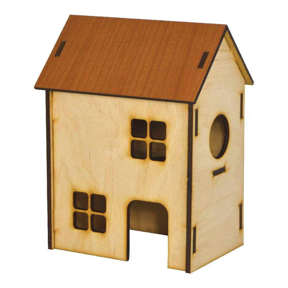 Дом для хомяков двухэтажный деревянный, цветной 13х9х18 см, Лори Д 014/1