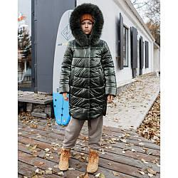 Подовжена куртка для дівчаток з опушкою