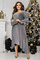 Женское платье в пол большие размеры, длинное платье из люрекса батал, шикарное нарядное платье макси длина