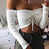Женский топ с открытыми плечами с завязкой, фото 2