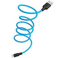 USB Cable Hoco X21 Silicone MicroUSB Black/Blue 1m, фото 1