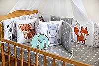 """Защита-бортики в кроватку для новорожденных от комплекта """"Азбука"""",ТМ Добрый Сон, серые животные,1-07-2/2"""