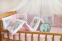 """Защита-бортики в кроватку для новорожденных от комплекта """"Азбука"""",ТМ Добрый Сон,розовый слоник,1-07-2/3"""