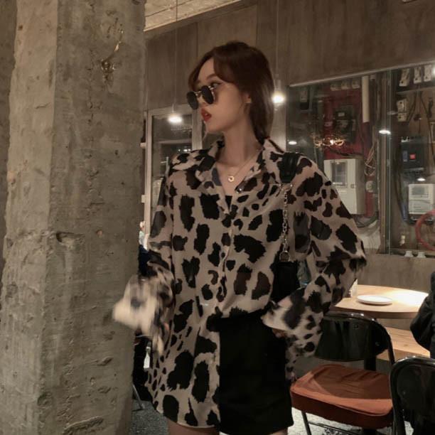 Женская модная рубашка в леопардовый принт