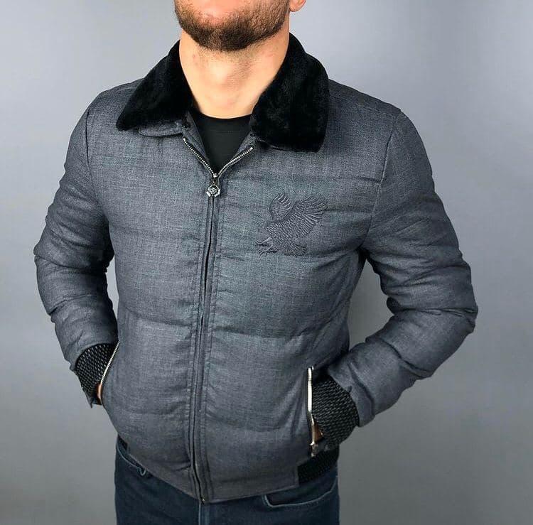 Мужская брендовая куртка Stefano Ricci P0535 серая