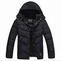 Куртка мужская зимняя пуховик с капюшоном спортивный стиль, цвет черный, размер 48