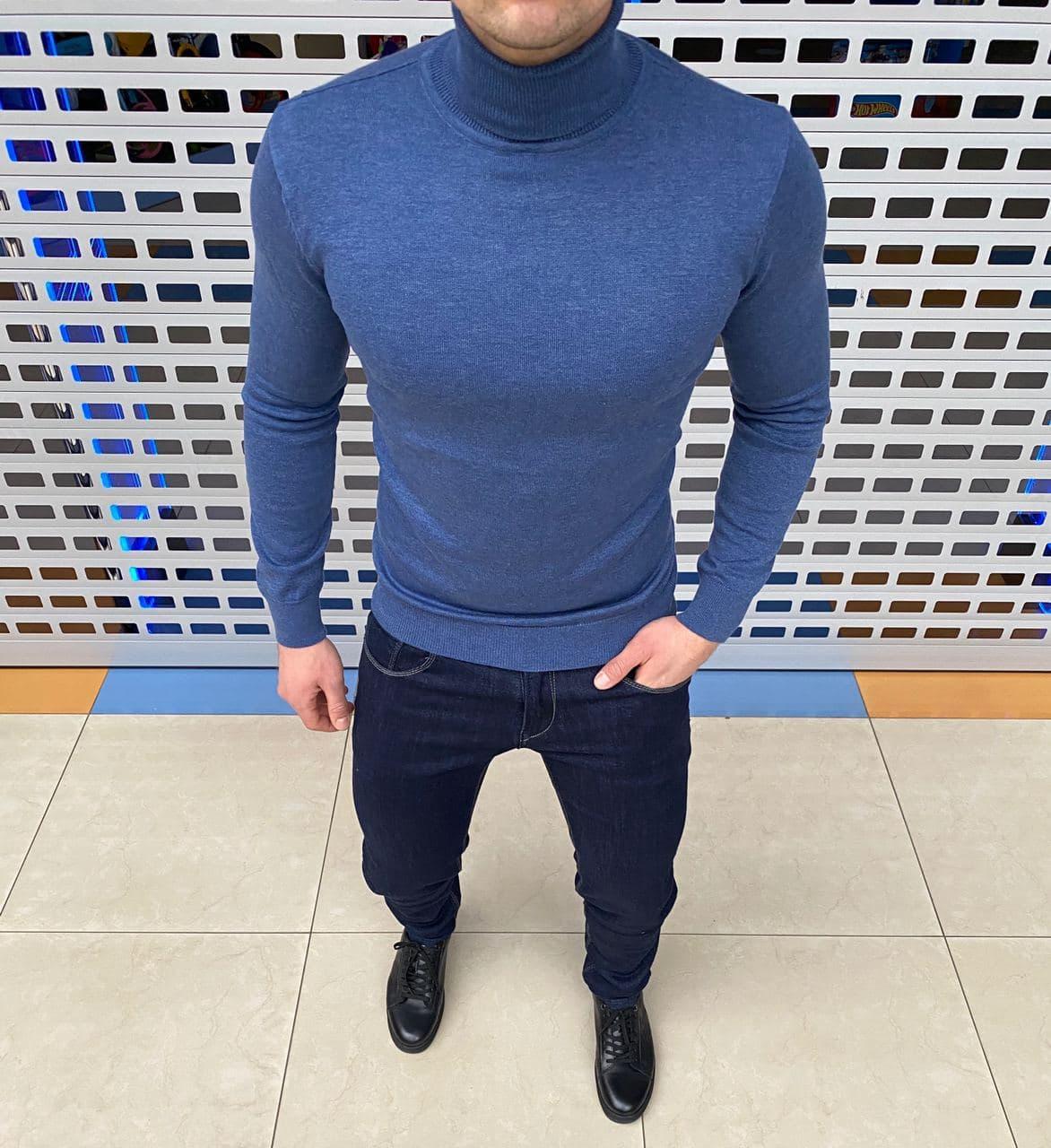 Мужской теплый гольф H1127 синий