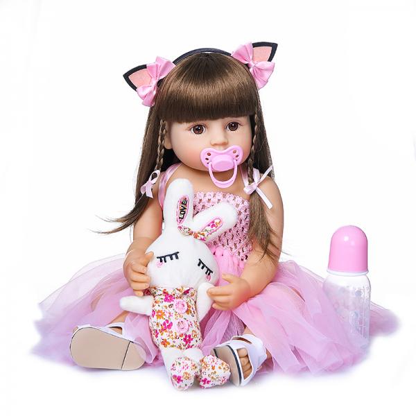 Силіконова колекційна лялька Reborn Doll 55 см Дівчинка Моніка (198)